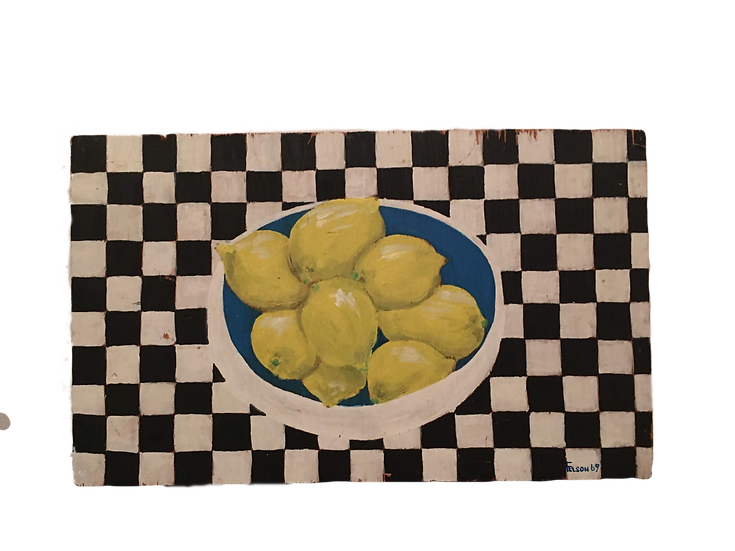 An early painting of lemons, oil on wood, 1969 . The  Black and White theme appears often in my work.