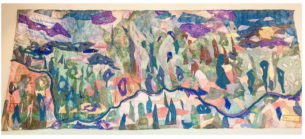"""Jaramillo"" silk tapestry 4' x 12'"