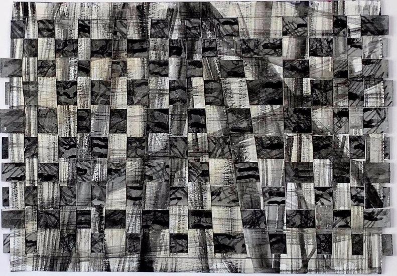 """Paper weaving (black , grey)"" watercolor, 12' x 14"""
