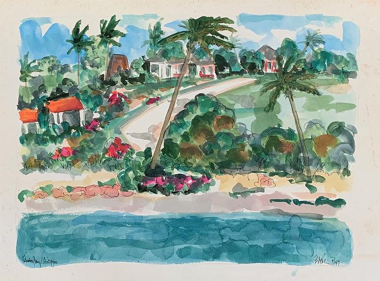 "St. James, Antigua 1998, watercolor 16x20"""