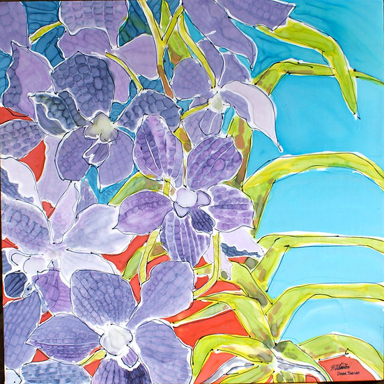 Selection of Silk Floral Paintings  30x30""