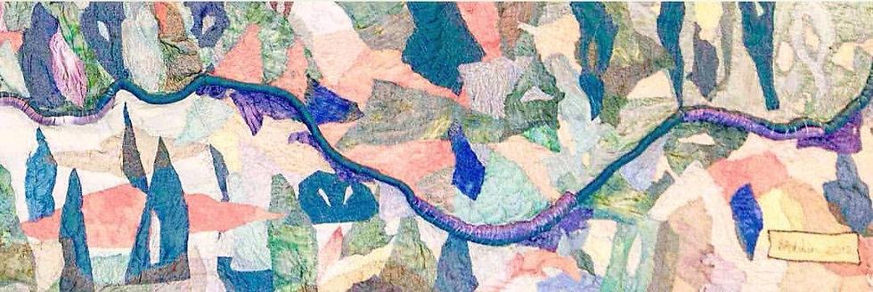 """Jaramillo: silk tapestry 4'x12"""