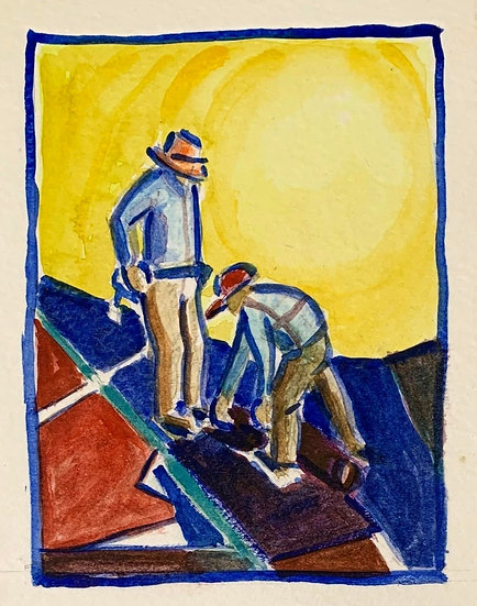 """Two Roofers"" watercolor 4 1/4 x 5 1/2"""