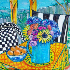 Still Life with dahlias and sunflowers 2021