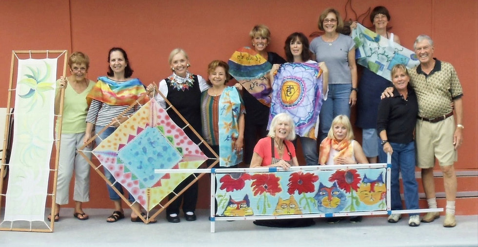 Silk Painting Class at home of Cora and David Kent