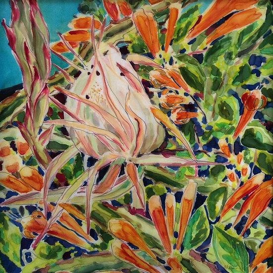 """Night Blooming Cereus""  30x30"" silk"