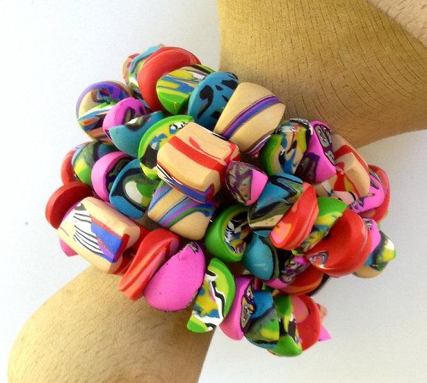 Bracelet, polymer clay beads, sold