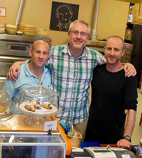 Stuart, Michael and Daniel Rabkin with Mort looking over their shoulders