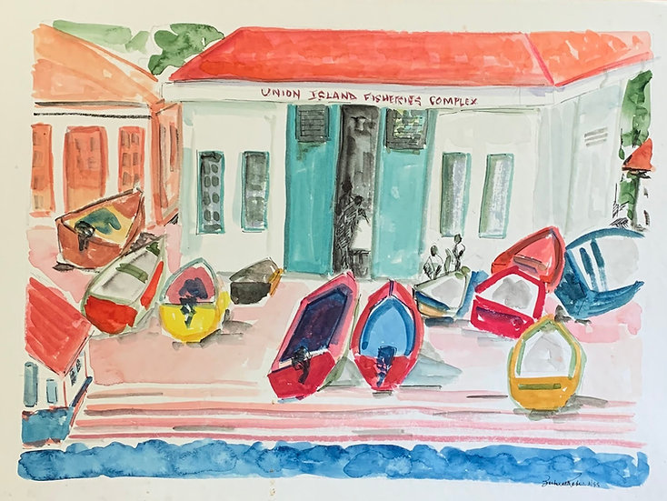 "Union Island, Grenadines, 1998, watercolor 19x14"""