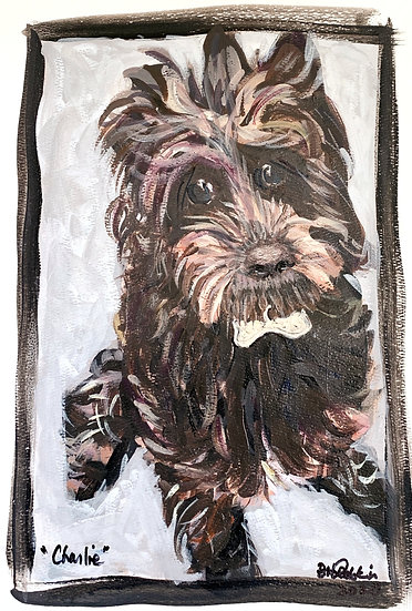 """""""My Great Niece pup, Charlie"""" Acrylic on paper 11 x 14""""."""