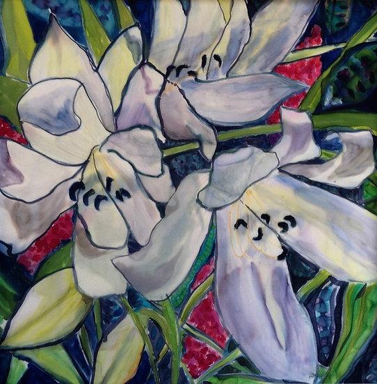 """Florals - Lilies, silk  30x30"""""""