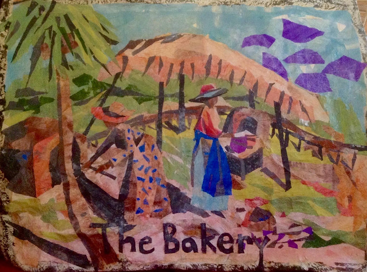 """""""The Bakery""""   Collage, tissue paper, silk 43x49""""2015"""