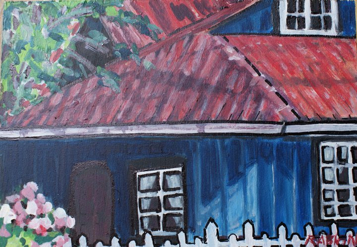 Ibu's House  acrylic on canvas 4x6""