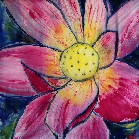 """Pink Lily""  silk 30x30"""