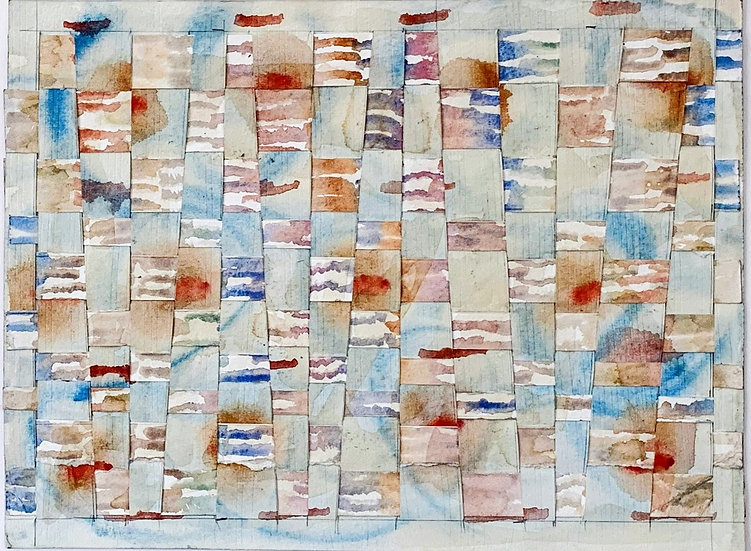 """Paper Weaving (blue, brown)""  watercolor, 12'""x 14"""