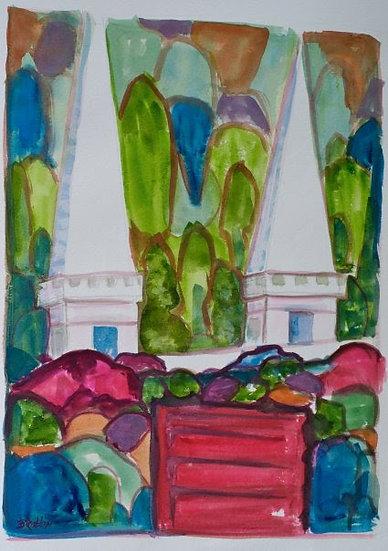 Spires  watercolor 11x14