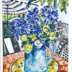 """Still life - Agapanthus and Roses Watercolor 11  14"""""""
