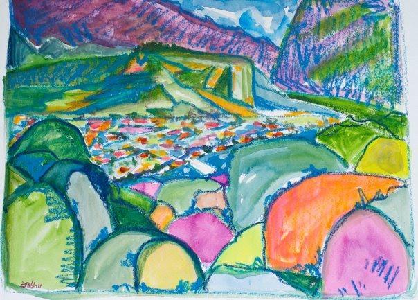 Boquete from Jaramillo  11x14  craypas