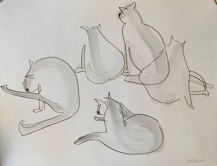 Joey, our Siamese Cat, 1995 Watercolor
