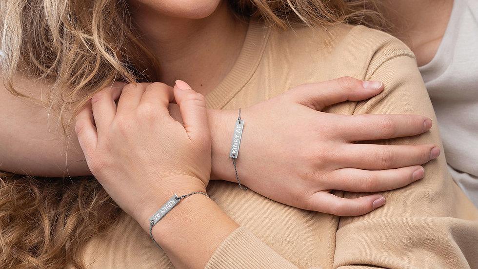 KINKY AF Engraved Silver Bar Chain Bracelet