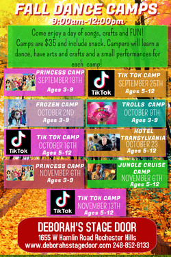 DANCE Camps Fall 2021-2