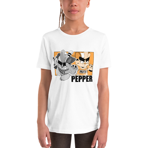 Pepper Youth Short Sleeve T-Shirt (White)
