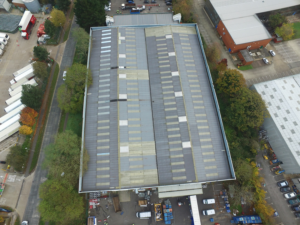 Birds eye view of 100m long commercial roof