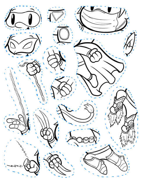 CAREFULLY cut out accessories on this page to add to the super costume coloring page! Ask an adult for help.