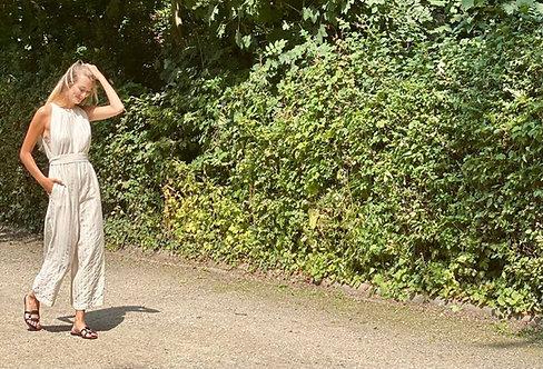 June jumpsuit - Linen Stripe Beige