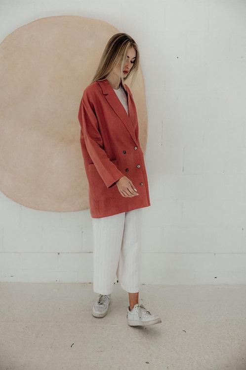 June Jumpsuit- Linen Stripe Pink