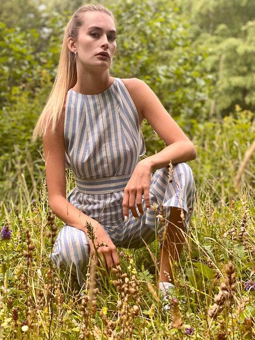 June Jumpsuit - Linen Stripe Blue