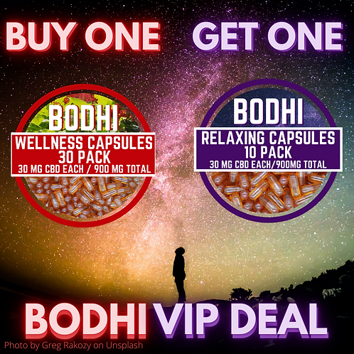 VIP SPECIAL: Bodhi Wellness Capsules 30 Pack + FREE 10 Pack of Relaxing Capsules