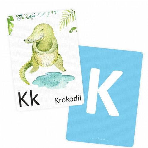 26 Tier-Buchstabenkarten