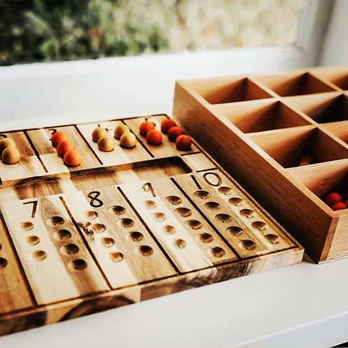Natural Counting Board inkl Holzkugeln bunt
