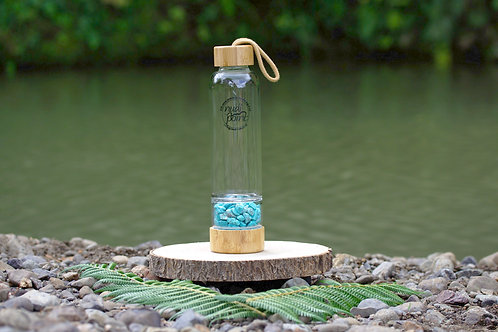 Turquoise Crystal Bamboo Water Bottle