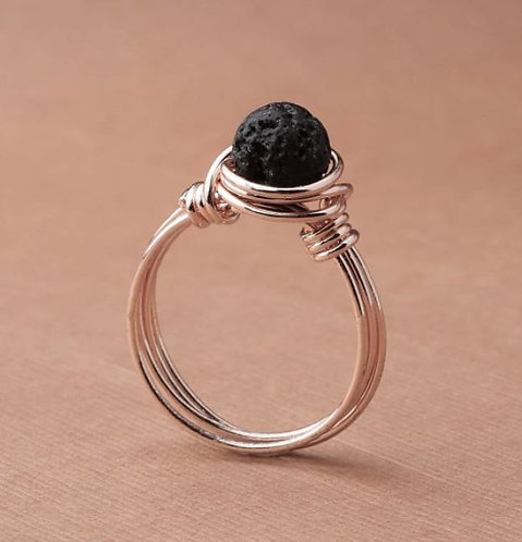 """""""Intention"""" Lava Stone Ring - ROSE GOLD (Size US 7)"""