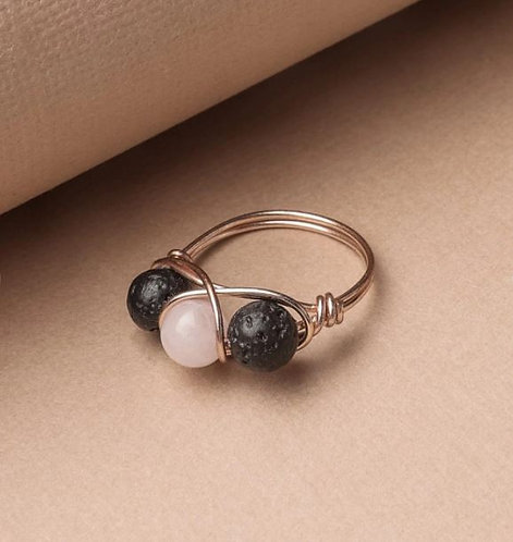 Rose Quartz & Lava Stone Ring - ROSE GOLD (Size US 7)