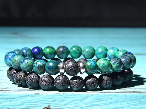 Men's Lava Stone & Imperial Jasper Bracelet Set
