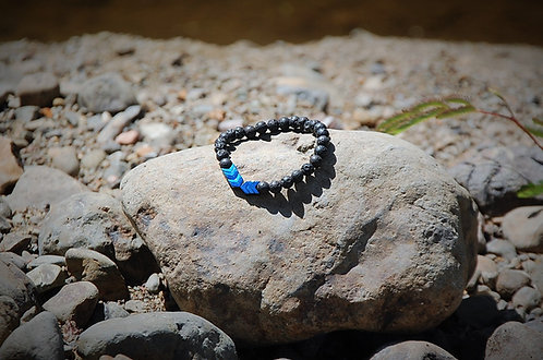 Blue Hematite Arrows Lava Stone Bracelet
