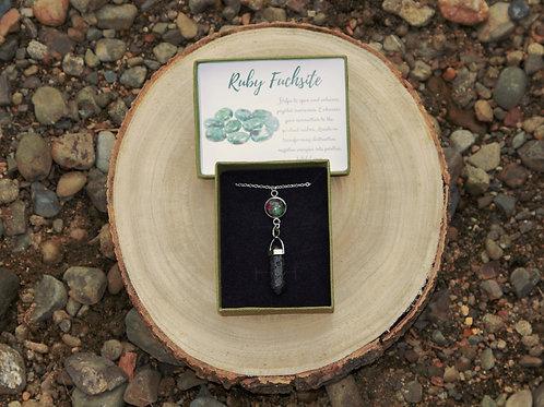 Ruby Fuchsite Lava Stone Necklace