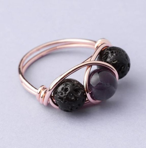 Amethyst Lava Stone Ring - ROSE GOLD (Size US 7)