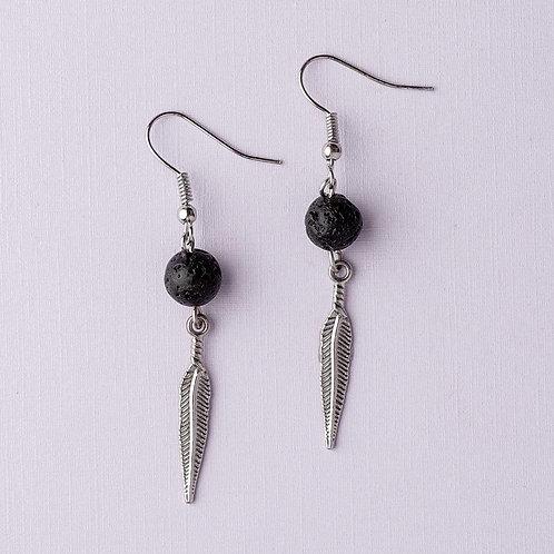 "Lava Stone ""Feather"" Earrings (Silver)"