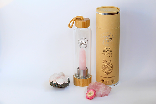 Rose Quartz Crystal Elixir Water Bottle (Bamboo)
