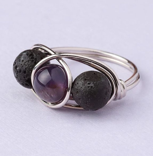 Amethyst Lava Stone Ring - SILVER (Size US 7)