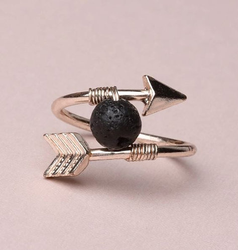 """Sacred Arrow"" Brass & Lava Stone Ring (Size US 8)"