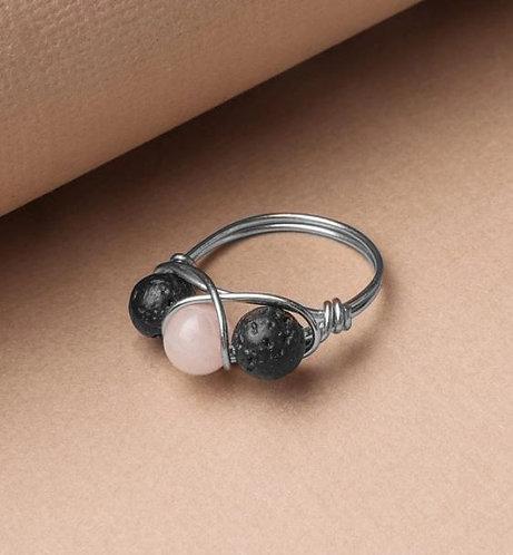 Rose Quartz & Lava Stone Ring - SILVER (Size US 7)