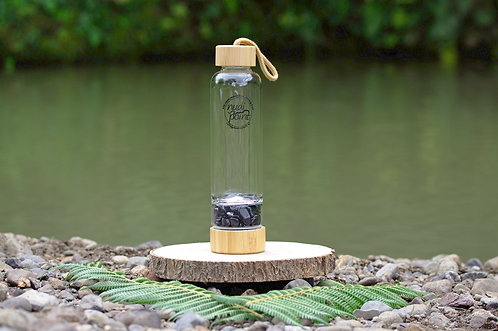 Obsidian Crystal Bamboo Water Bottle