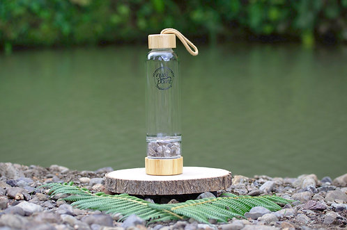 Smoky Quartz Crystal Bamboo Water Bottle