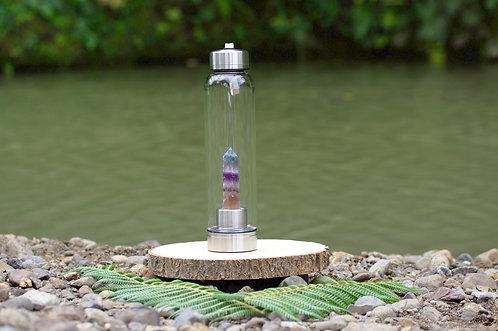 Rainbow Flourite Crystal Elixir Water Bottle