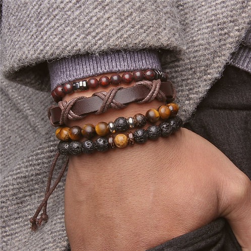 Men's Lava Stone & Tigers Eye Bracelet Set
